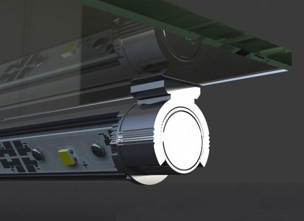 Поворотное крепление светоидодного профиля на кромку стекла