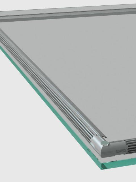Подсветка ювелирной витрина с угловым элементом